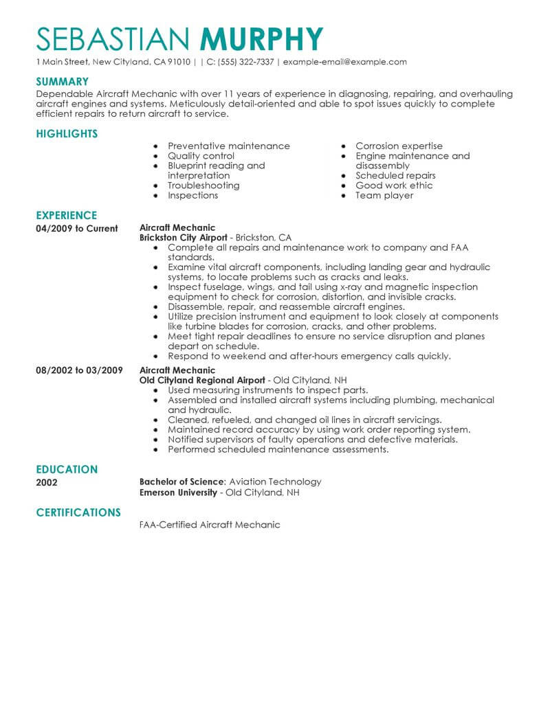 best aircraft mechanic resume example livecareer airframe and powerplant examples Resume Airframe And Powerplant Resume Examples
