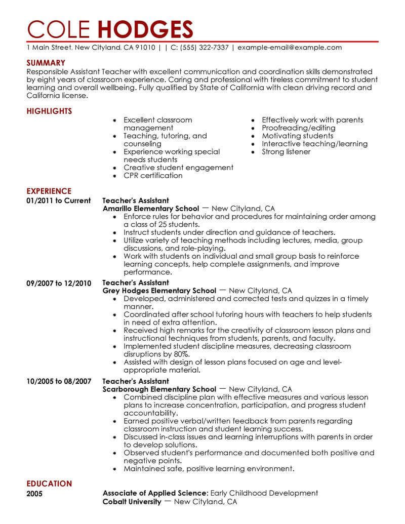best assistant teacher resume example livecareer objective for education contemporary Resume Objective For Resume For Teacher Assistant