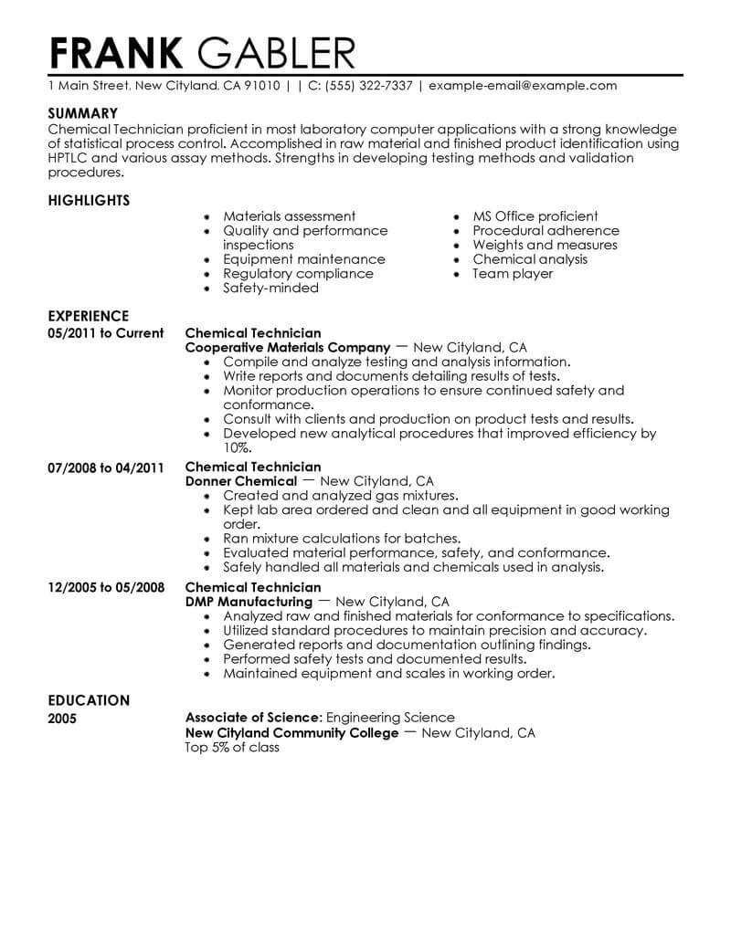 best chemical technicians resume example livecareer technical writing examples government Resume Technical Resume Writing Examples