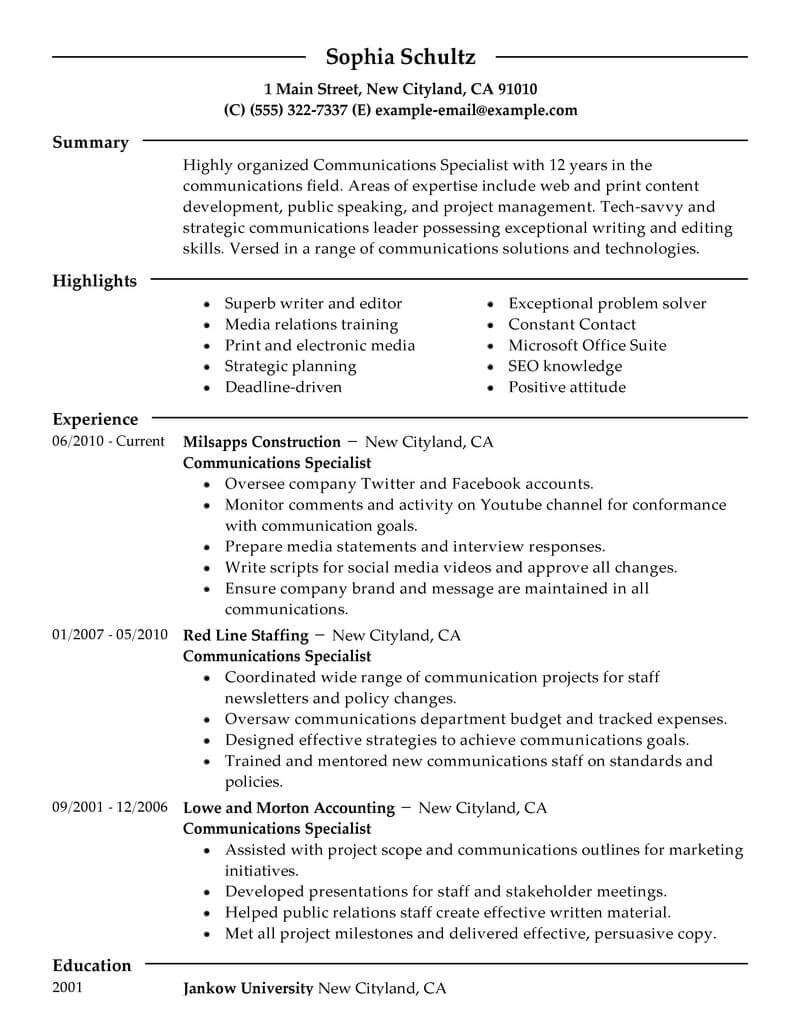 best communications specialist resume example livecareer skills portion of marketing Resume Skills Portion Of Resume