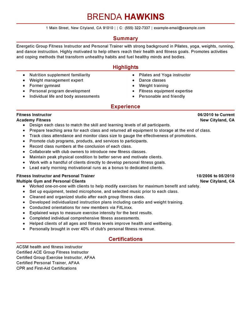 best fitness and personal trainer resume example livecareer format care services modern Resume Personal Trainer Resume Format