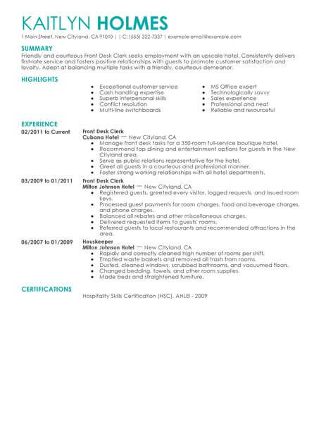 best front desk clerk resume example livecareer duties for hotel hospitality contemporary Resume Front Desk Clerk Duties For Resume