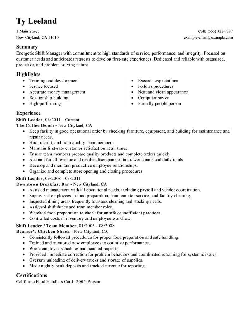 best hourly shift manager resume example livecareer mcdonalds job description for Resume Mcdonalds Manager Job Description For Resume