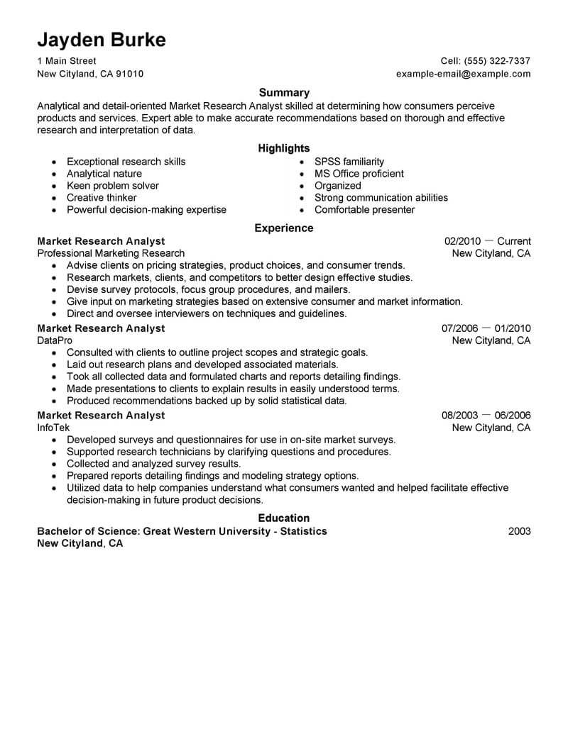 best market researcher resume example livecareer research associate marketing space saver Resume Market Research Associate Resume