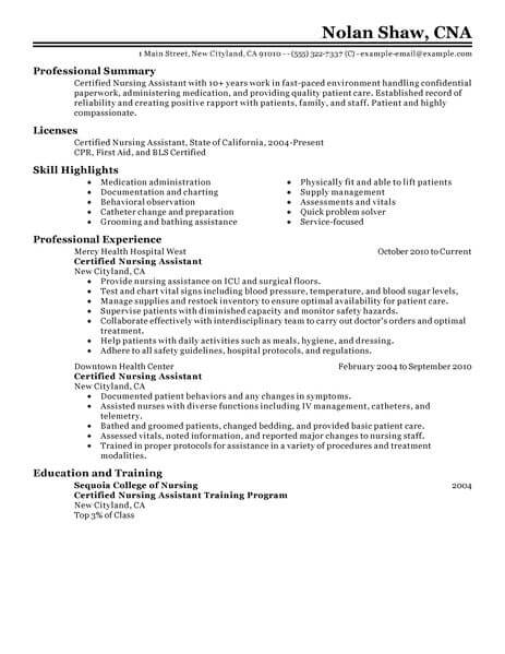 best nursing aide and assistant resume example livecareer nurse examples healthcare Resume Nurse Aide Resume Examples