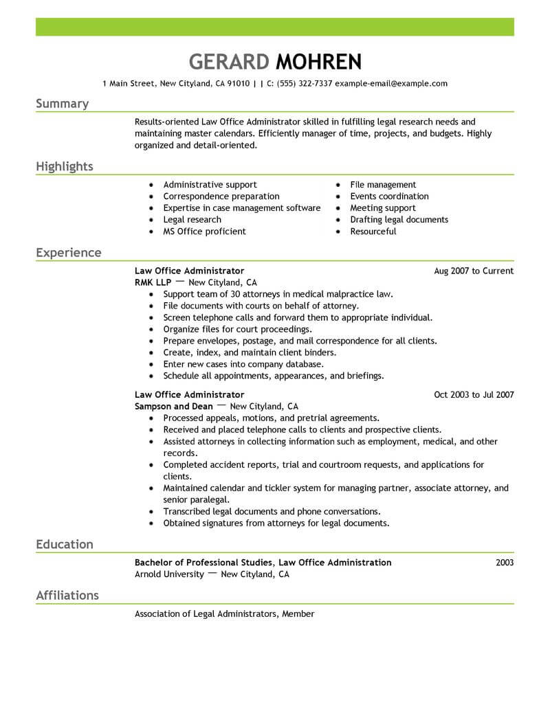 best office administrator resume example livecareer management duties for legal emphasis Resume Office Management Duties For A Resume