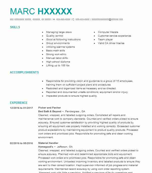 best picker and packer resume example livecareer objective biden government template free Resume Picker Packer Resume Objective