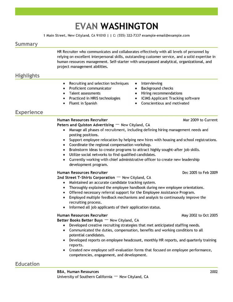 best recruiting and employment resume example livecareer sample human resources emphasis Resume Employment Resume Sample