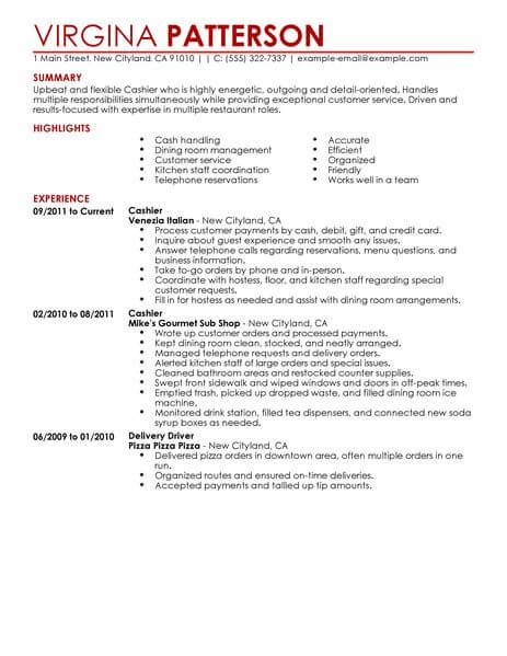 best restaurant cashier resume example livecareer experience food contemporary 463x600 Resume Cashier Experience Resume