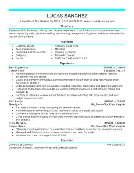 best shift supervisor resume example from professional writing service manager job Resume Shift Manager Job Description For Resume