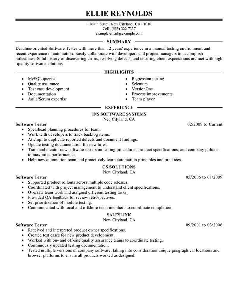 best software testing resume example livecareer format for test engineer it executive Resume Resume Format For Software Test Engineer