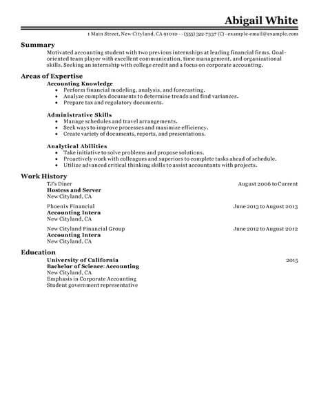 best training internship resume example livecareer ojt objectives for accounting students Resume Ojt Resume Objectives For Accounting Students