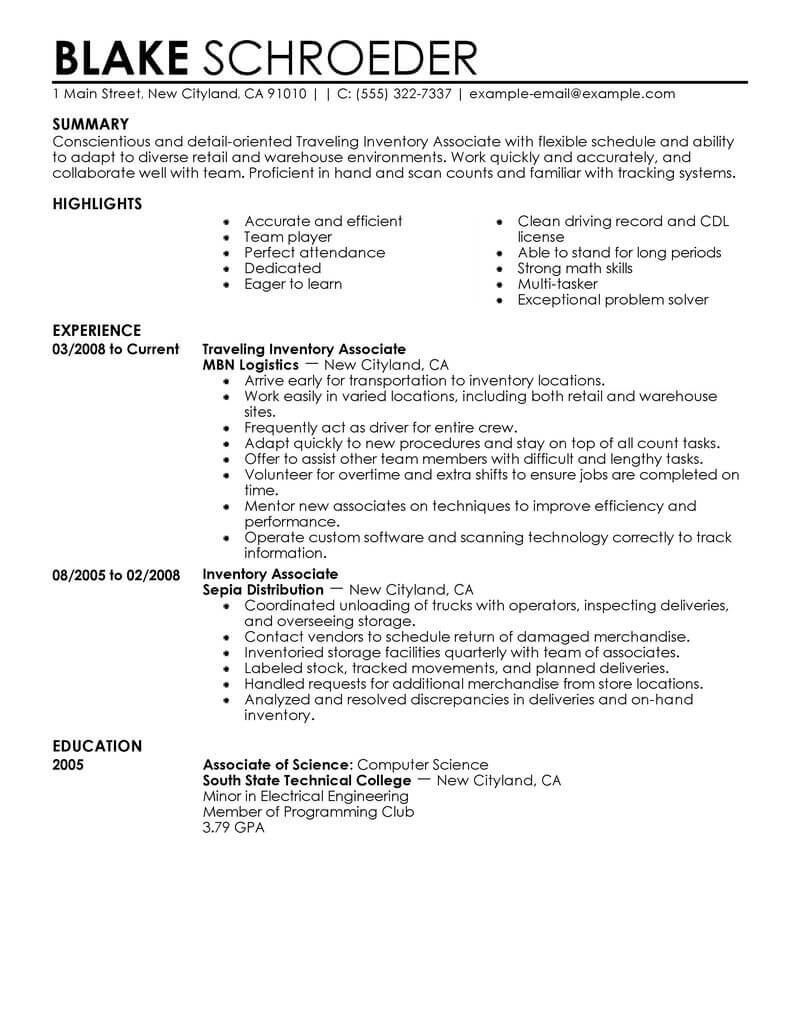 best traveling inventory associate resume example from professional writing service entry Resume Inventory Associate Resume