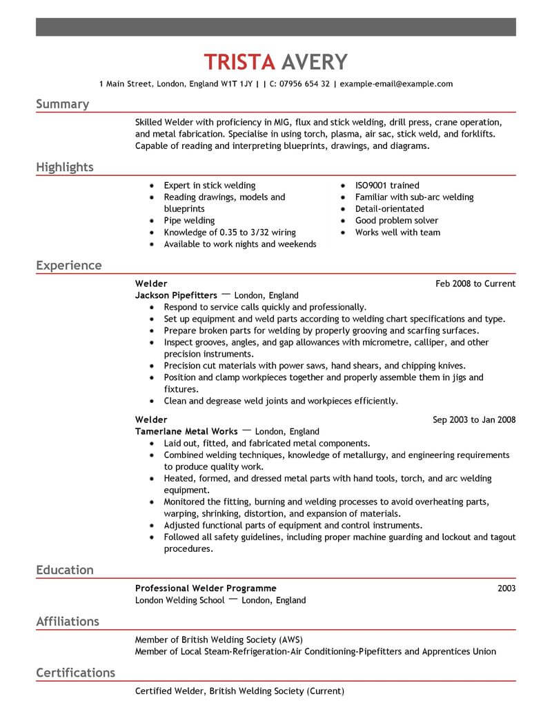 best welder resume example livecareer examples samples construction empasis for account Resume Welder Resume Examples Samples