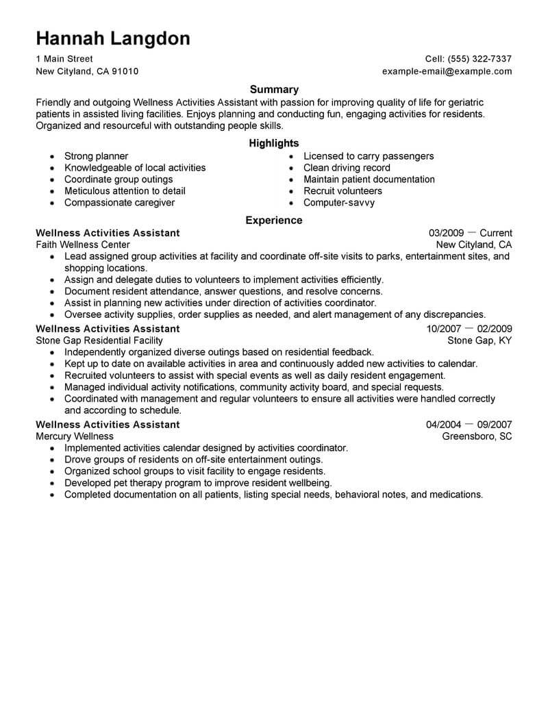 best wellness activities assistant resume example livecareer samples space saver police Resume Activities Resume Samples