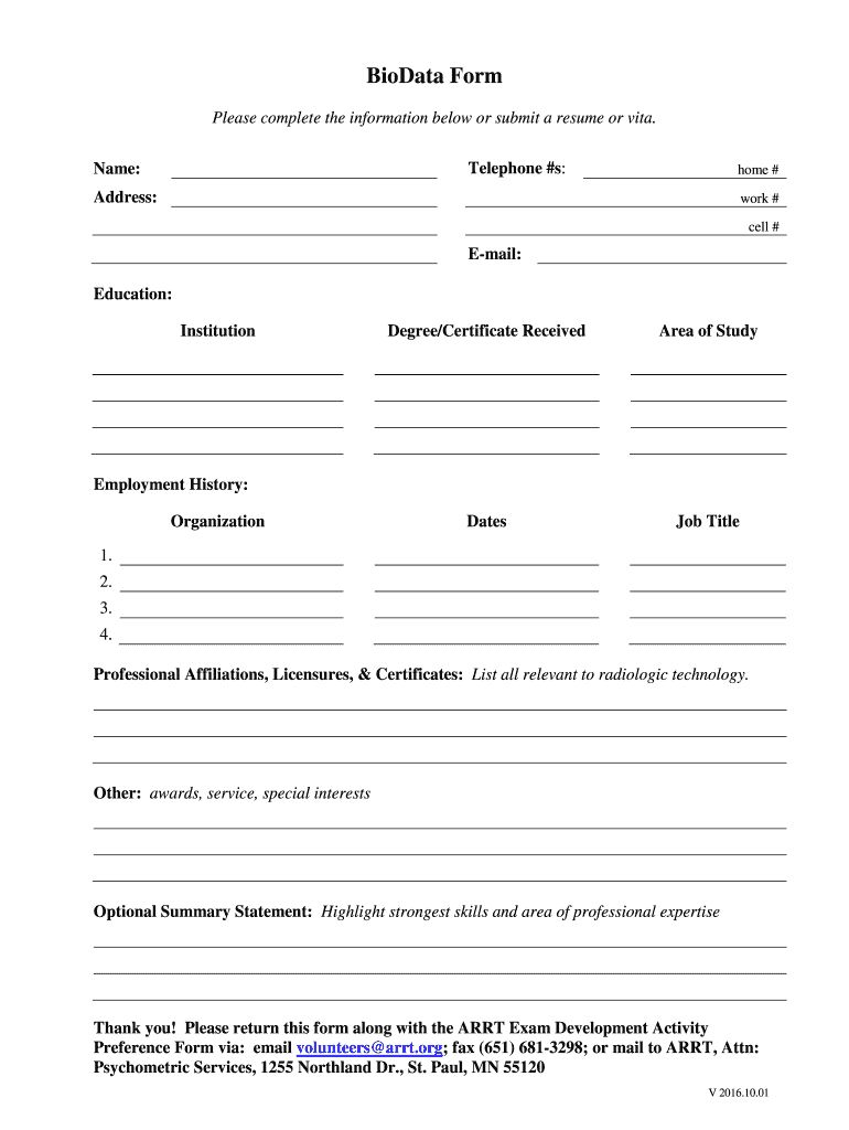 biodata form fill printable fillable blank within free bio template in data format resume Resume Fillable Resume Template