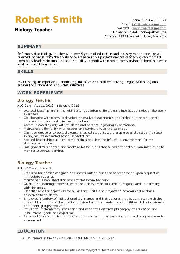 biology teacher resume samples qwikresume college student pdf format of and cover letter Resume College Student Biology Resume