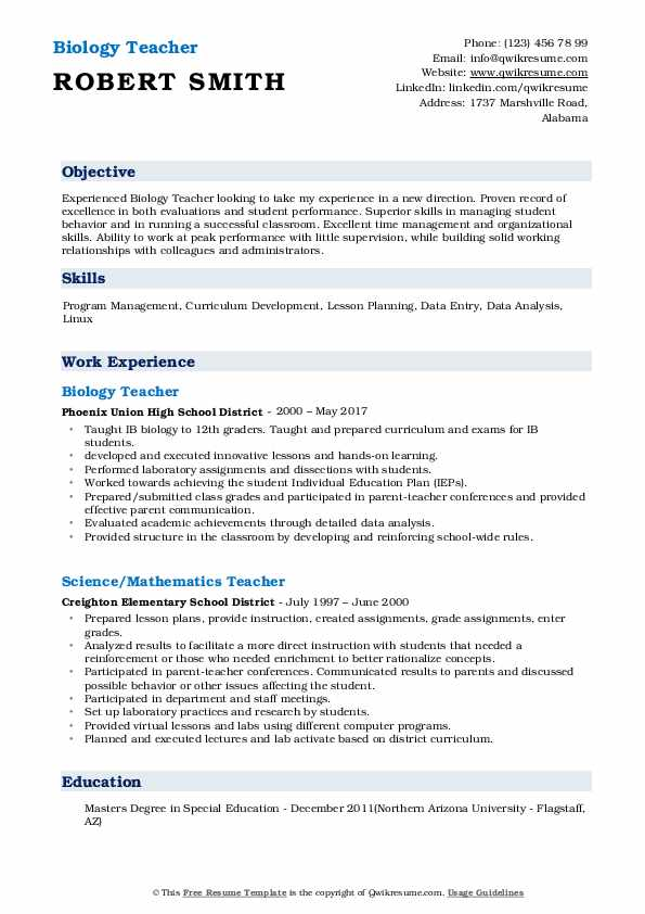 biology teacher resume samples qwikresume college student pdf project support google Resume College Student Biology Resume