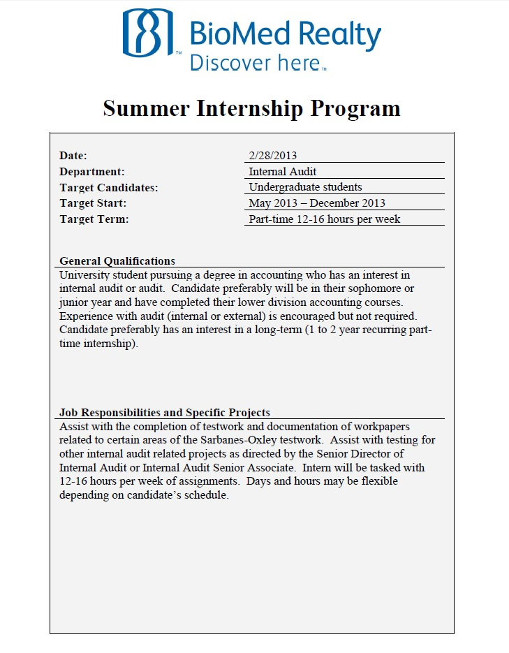 biomed realty summer internal audit internship opportunity undergrad rady blog intern Resume Audit Intern Resume Description