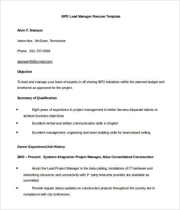 bpo resume templates pdf free premium for voice process lead manager word military Resume Resume For Voice Process