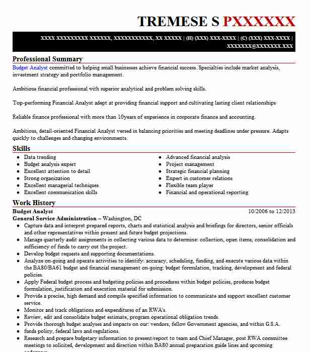 budget analyst resume example accountant resumes livecareer specialties examples high Resume Resume Specialties Examples