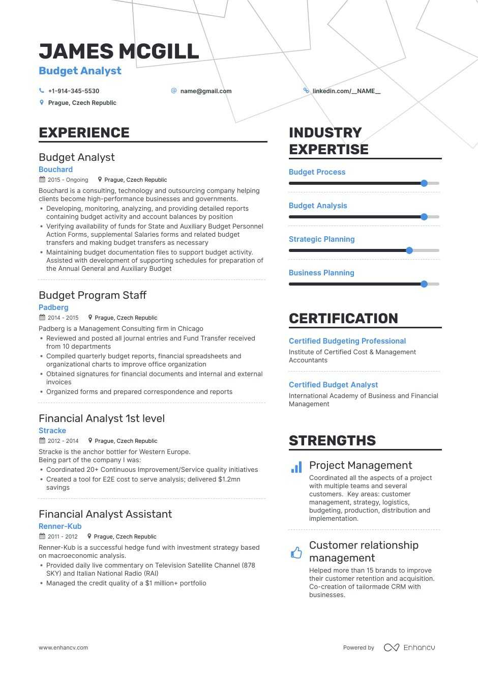 budget analyst resume samples and writing guide for enhancv financial planning analysis Resume Financial Planning And Analysis Resume