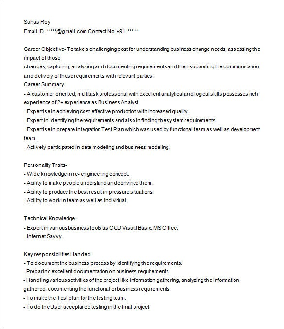 business analyst resume template free samples examples format premium templates fresher Resume Business Analyst Resume Fresher