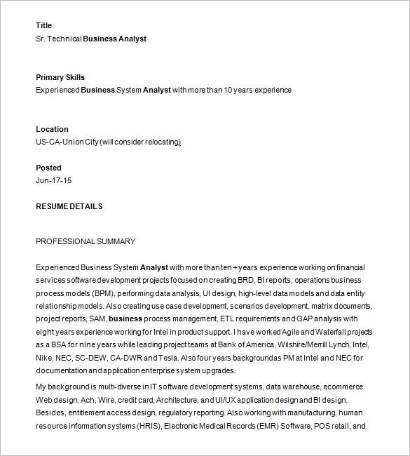 business analyst resume template free samples examples format premium templates sample Resume Sample Resume For Experienced Business Analyst 2 Years