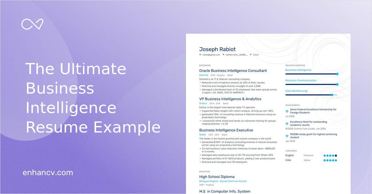 business intelligence resume examples expert advice enhancv oracle after school Resume Oracle Business Intelligence Resume