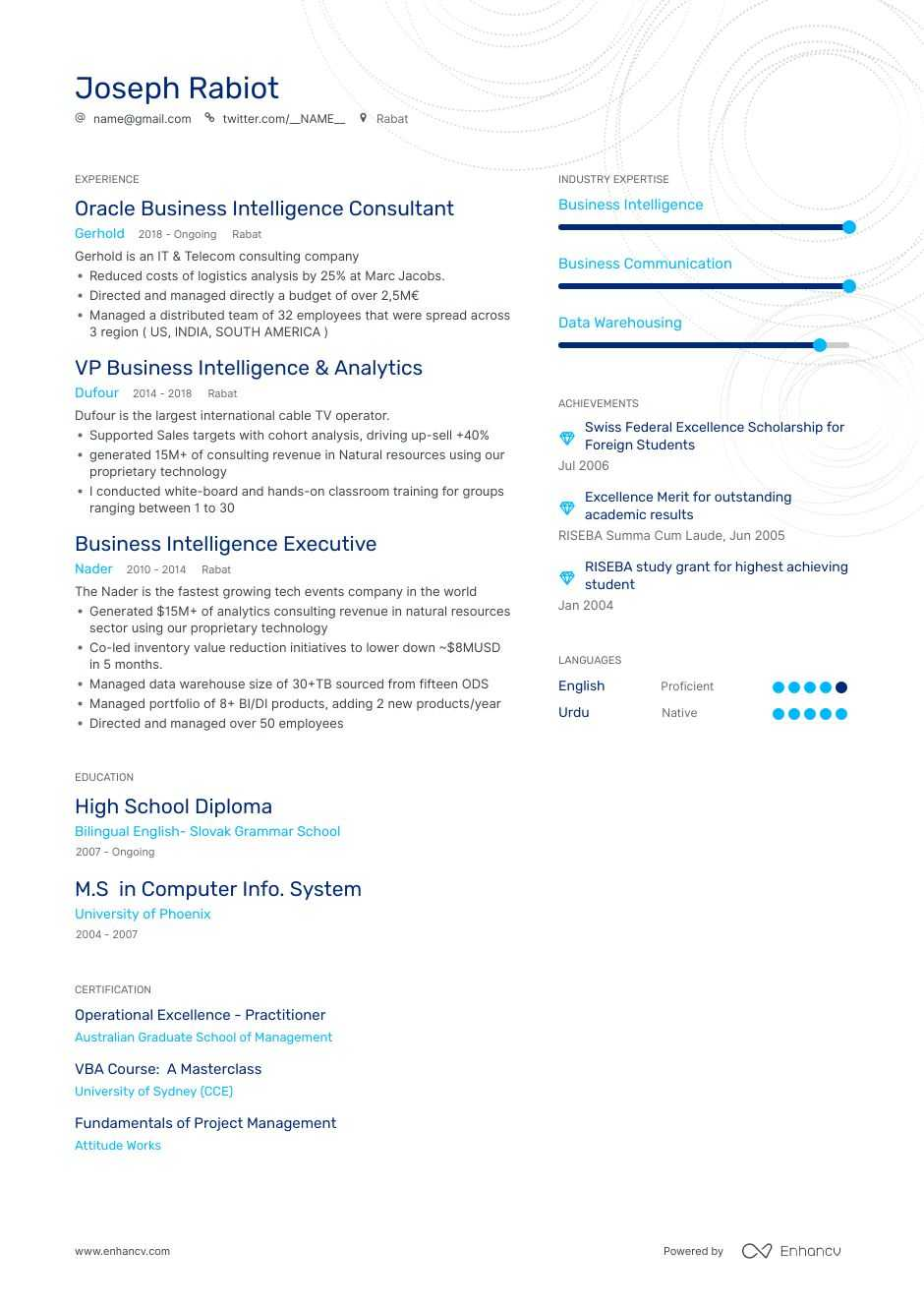 business intelligence resume examples expert advice enhancv oracle best for recent Resume Oracle Business Intelligence Resume