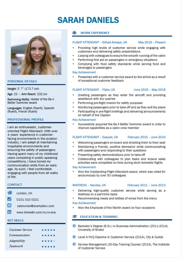 cabin crew cv examples writing guide flight attendants nation short and engaging pitch Resume Short And Engaging Pitch About Yourself Examples For Resume