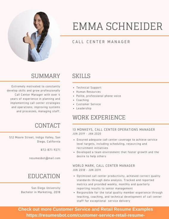 call center manager resume samples and tips pdf resumes bot customer service examples Resume Customer Service Resume Examples 2020