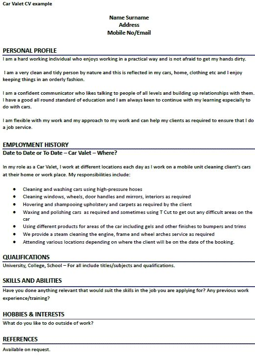 car valet cv example learnist template examples perfect resume parking job description Resume Valet Parking Job Description For Resume