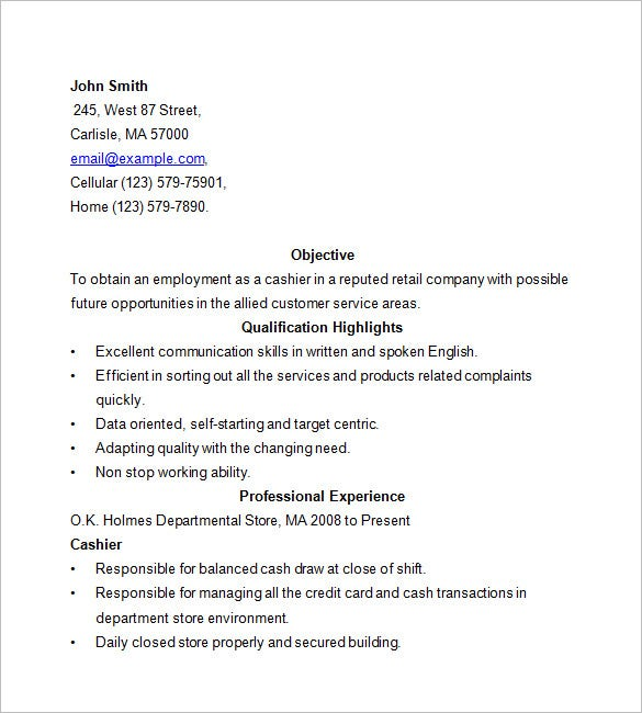 cashier resume template free samples examples format premium templates experience Resume Cashier Experience Resume