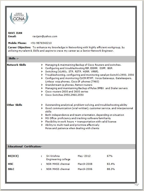 ccna fresher resume format free in network engineer engineering sample entry level Resume Ccna Fresher Resume Format Free Download