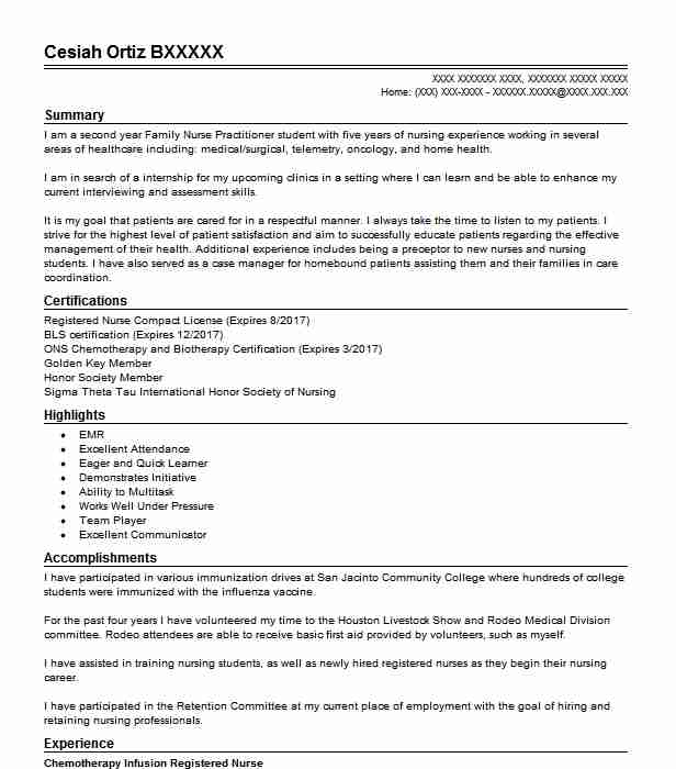 chemotherapy infusion nurse resume example memorial cancer institute oncology objective Resume Oncology Nurse Resume Objective