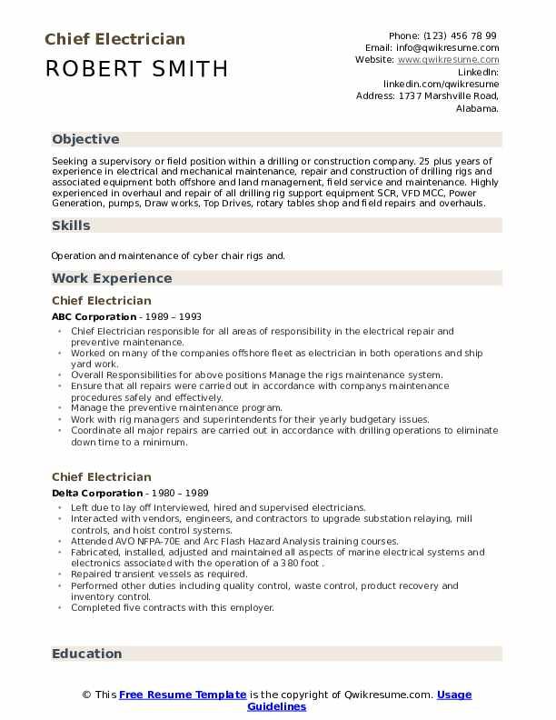 chief electrician resume samples qwikresume oil field pdf format for hospital Resume Oil Field Electrician Resume