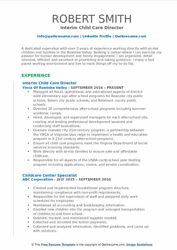child care director resume samples qwikresume pdf revamp careerbuilder create sample for Resume Child Care Director Resume