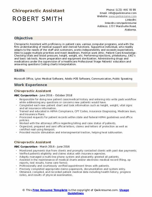 chiropractic assistant resume samples qwikresume job description for pdf people Resume Chiropractic Assistant Job Description For Resume