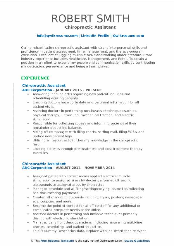 chiropractic assistant resume samples qwikresume job description for pdf pricing analyst Resume Chiropractic Assistant Job Description For Resume