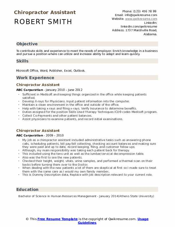chiropractor assistant resume samples qwikresume chiropractic job description for pdf Resume Chiropractic Assistant Job Description For Resume