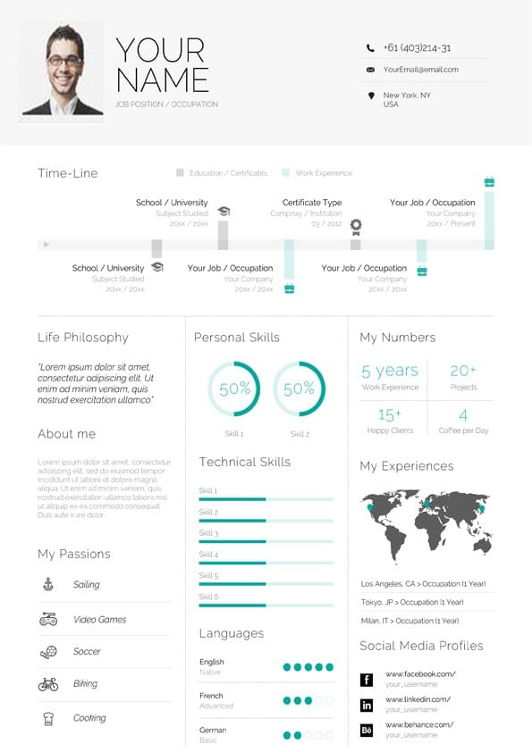 clean infographic resume template for word microsoft professional cv software test lead Resume Infographic Resume Template Microsoft Word