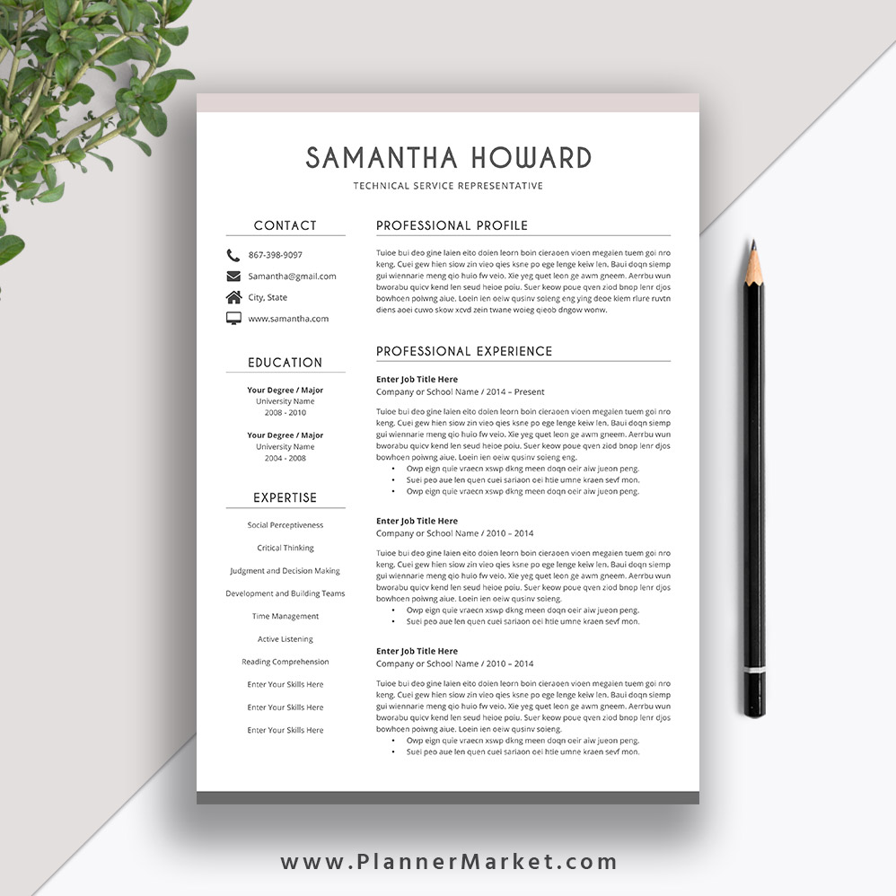 clean resume template cover letter cv word modern professional the samantha plannermarket Resume Resume 2020 Template Word