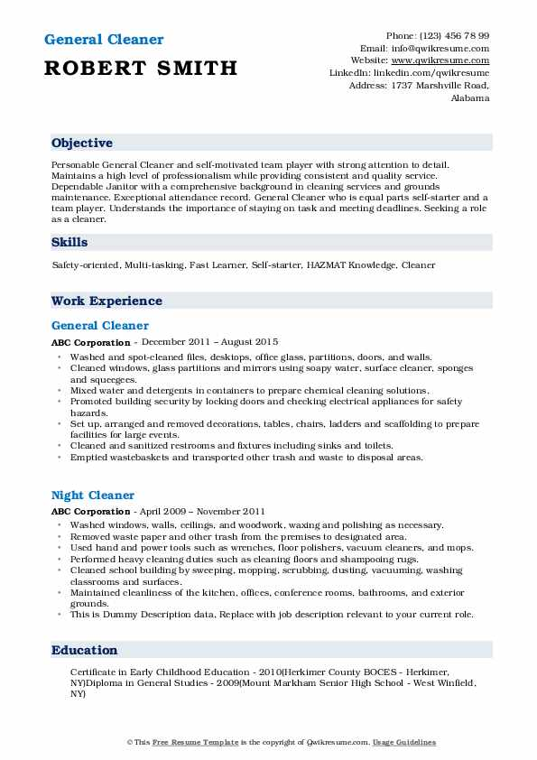 cleaner resume samples qwikresume cleaning objective for pdf vocal example student job Resume Cleaning Objective For Resume