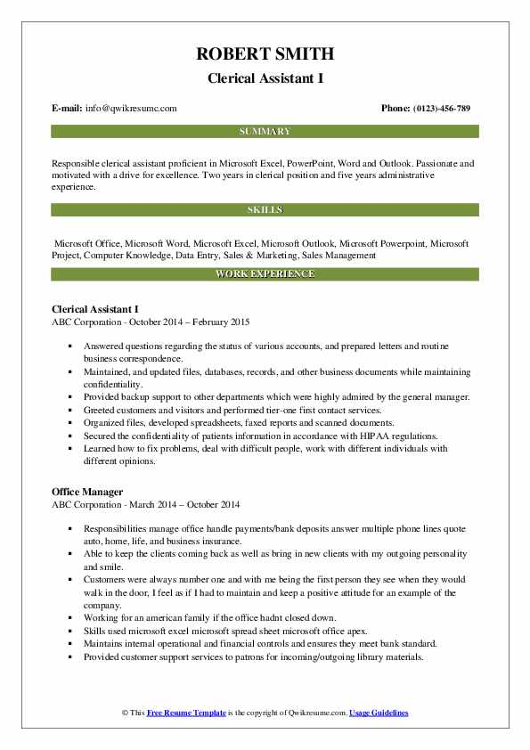 clerical assistant resume samples qwikresume pdf bookkeeper objective for receptionist Resume Clerical Assistant Resume