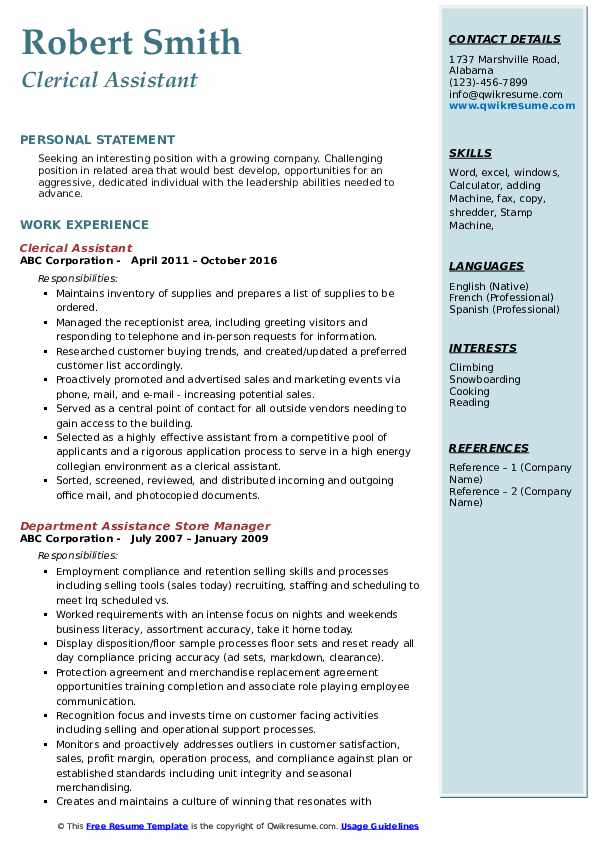 clerical assistant resume samples qwikresume pdf document control manager sample entry Resume Clerical Assistant Resume