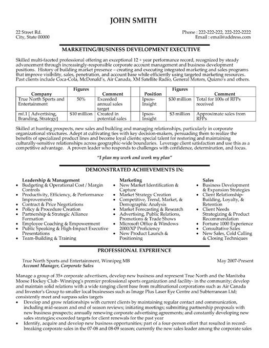 click here to this business development executive resume template http resumetemplate Resume Business Development Executive Resume