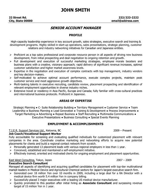click here to this senior account manager resume template http resumetemplates101 Resume Executive Account Manager Resume