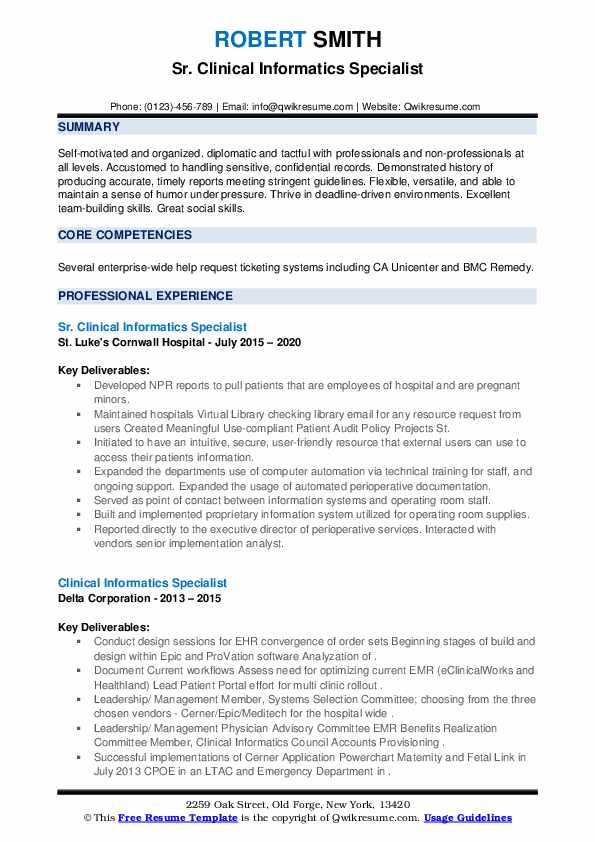 clinical informatics specialist resume samples qwikresume pdf calling after submitting Resume Clinical Informatics Specialist Resume