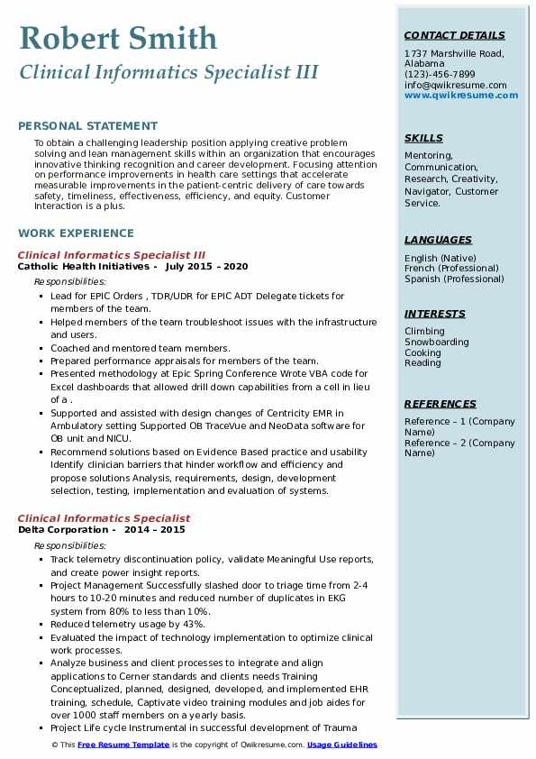 clinical informatics specialist resume samples qwikresume pdf school supervisor policy Resume Clinical Informatics Specialist Resume